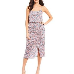 1.STATE Sleeveless Ruched Floral-print Dress 2 New
